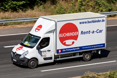 Renault Master of Buchbinder on motorway. Buchbinder is a German car rental company and part of the French Europcar Mobility Group.