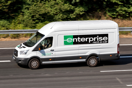 Ford Transit of Enterprise on motorway. Enterprise Rent-A-Car is an American car rental company headquartered in Clayton, Missouri, United States. Editorial