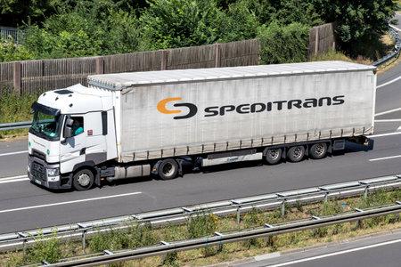 Speditrans truck on motorway. Czech Speditrans operates a fleet of more than 100 vehicles. Editorial
