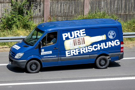 Mercedes Sprinter with Gaffel Fassbrause advertising. Gaffel is a German private brewery, based in Cologne. Standard-Bild - 107049390