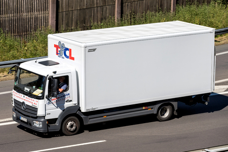 Mercedes-Benz Atego of TCL on motorway. TCL is a German car and truck rental company, founded in 2000.