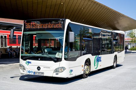 VBL bus at central bus station in Gummersbach. VBL is a municipal bus company based in Gummersbach.