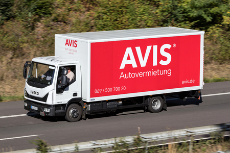 Iveco Eurocargo of Avis on motorway. Avis is an American car rental company headquartered in Parsippany, New Jersey, United States. Editorial