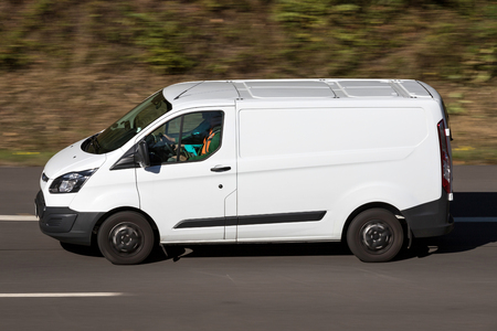 Ford Transit on motorway. The Ford Transit is a range of light commercial vehicles produced by Ford since 1965.