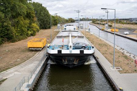 inland general cargo vessel PRETORIA entering the Main River lock of Eddersheim sluice west of Frankfurt
