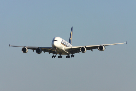 Singapore Airlines Airbus A380 with registration 9V-SKI on short final for runway 14 of Zurich Airport. Editorial