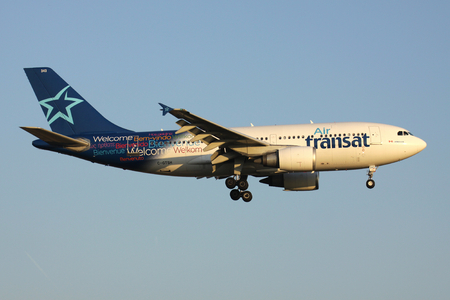 Canadian Air Transat Airbus A310-300 with registration C-GTSH on short final for runway 01 of Brussels Airport.