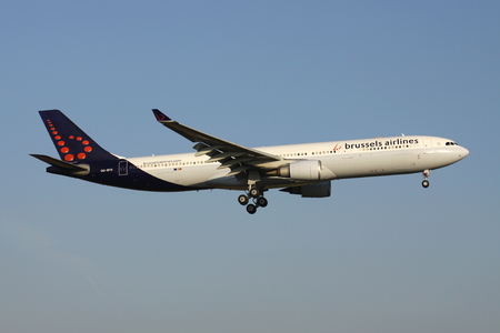 Belgian Brussels Airlines Airbus A330-300 with registration OO-SFO on short final for runway 01 of Brussels Airport. Editorial