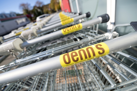 Denn's shopping carts. Denn's Biomarkt is a subsidiary of Denree Group and operates more than 280 stores in Germany and Austria.