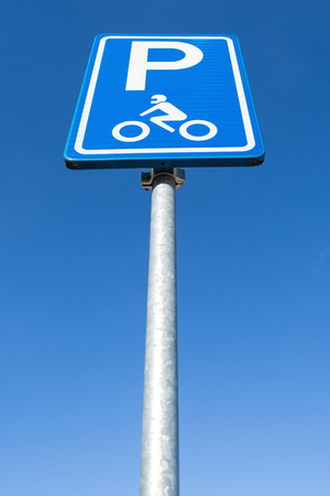 Dutch road sign: parking for motorcycles only