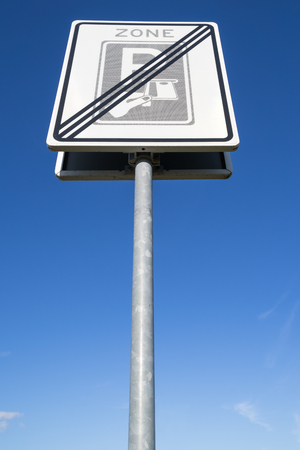 Dutch road sign: end of a toll ticket parking zone Imagens