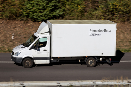 Mercedes-Benz Express Sprinter on motorway. Standard-Bild - 117054461