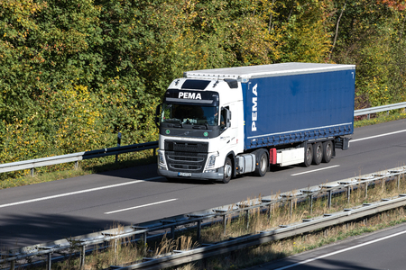 PEMA truck on motorway. With more than 18,000 units PEMA is one of the leading manufacturer-independent rental companies for complete heavy duty vehicles in Europe.