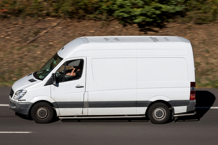 Mercedes-Benz Sprinter on motorway. The Mercedes-Benz Sprinter is a light commercial vehicle built by Daimler AG of Stuttgart, Germany. Editorial