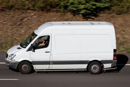 Mercedes-Benz Sprinter on motorway. The Mercedes-Benz Sprinter is a light commercial vehicle built by Daimler AG of Stuttgart, Germany.