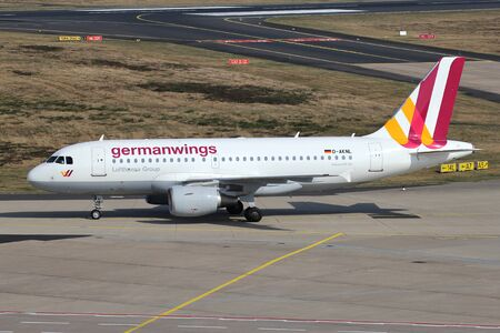Germanwings Airbus A319-100 with registration D-AKNL taxiing to terminal at Cologne Bonn Airport.
