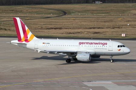 Germanwings Airbus A319-100 with registration D-AKNL taxiing to runway 14L at Cologne Bonn Airport.