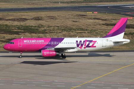 Hungarian Wizz Air Airbus A320-200 with registration HA-LPM taxiing to terminal at Cologne Bonn Airport. Editorial