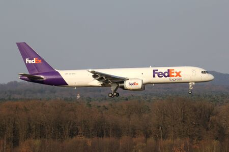 FedEx Boeing 757-200F with registration N916FD on short final for runway 14L of Cologne Bonn Airport. Editorial