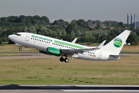 German Germania Boeing 737-700 with registration D-ABLB just airborne at Dusseldorf Airport.