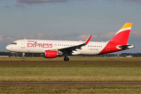 Spanish Iberia Express Airbus A320-200 with registration EC-LUS on take off roll on runway 36L of Amsterdam Airport Schiphol. Redakční
