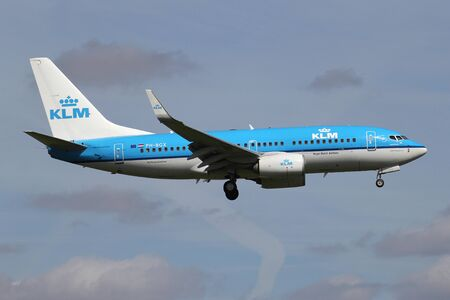 Dutch KLM Boeing 737-700 with registration PH-BGX on short final for runway 06 of Amsterdam Airport Schiphol.