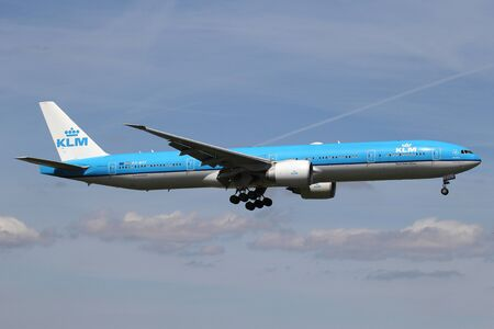 Dutch KLM Boeing 777-300 with registration PH-BVF on short final for runway 06 of Amsterdam Airport Schiphol. Editöryel