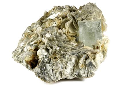 aquamarine crystal on muscovite from Nagar, Pakistan isolated on white background