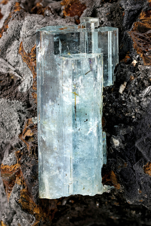 aquamarine crystal from Erongo, Namibia nestled in matrix