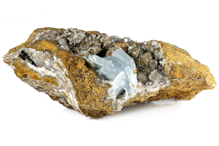 blue barite crystals on matrix from Morocco isolated on white background