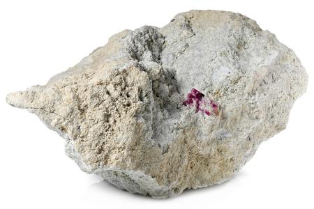 red beryl (bixbite) on matrix from Wah Wah Mountains, Utah,USA isolated on white background