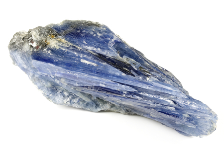 blue kyanite with quartz from Cepelinha, Brazil isolated on white background