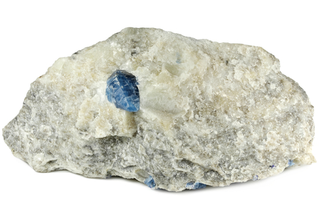 afghanite crystal on calcite matrix from Badakhshan, Afghanistan isolated on white background