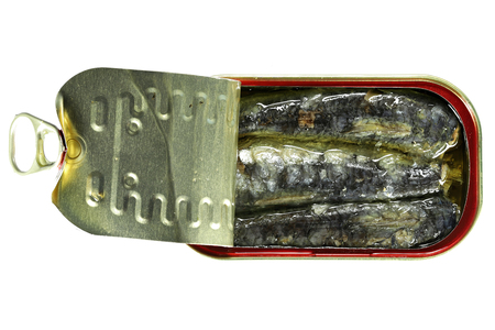 open can of sardines in vegetable oil isolated on white background