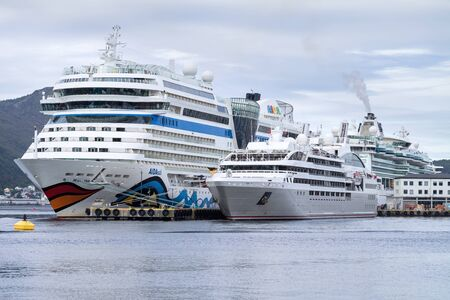 Cruise ships AidaSol, Le Soleal and Serenade of the Seas in Alesund, Norway. Alesund is noted for Art Nouveau architecture a popular cruise destination.