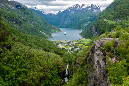 View of the Geirangerfjord from Flydalsjuvet. The fjord is one of Norway's most visited tourist sites. Stok Fotoğraf