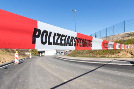 German police line at crime scene