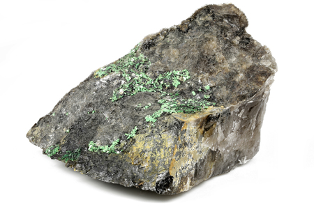 torbernite (uranium ore) from Portugal isolated on white background