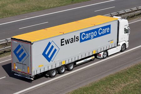 Ewals truck on German motorway. Stock Photo - 129745170
