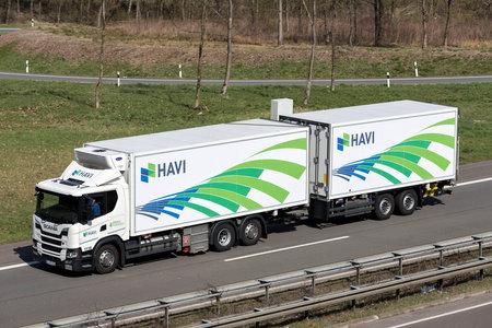 HAVI truck on German motorway. Stock Photo - 129745174