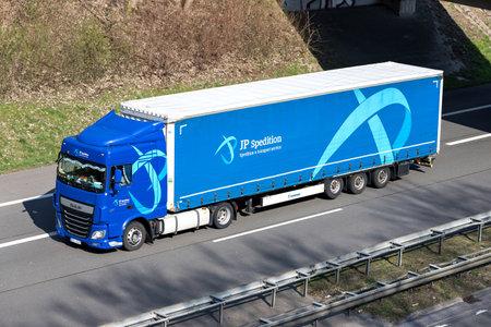 JP Spedition truck on German motorway.