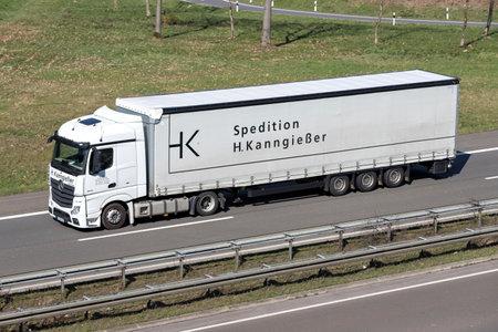 H. Kanngiesser truck on German motorway. Stock Photo - 129745181