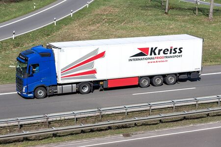 Kreiss truck on motorway. Kreiss is a major company in Latvia and a noticeable service provider in the European logistics market.