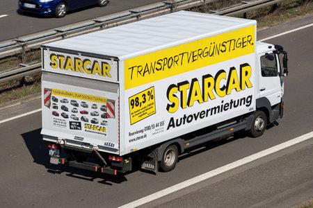 Starcar truck on German motorway. Stock Photo - 129745192