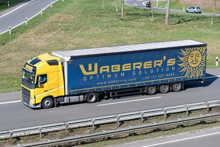 Waberer's truck on motorway. With a fleet of over 4,300 trucks and around 7,600 employees, Waberer's serves customers across 28 countries in Europe. Editorial