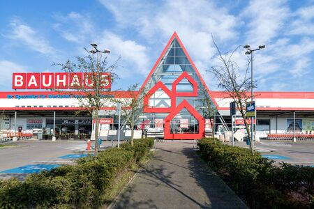 Bauhaus hardware store in Bremen, Germany. Bauhaus is a Swiss-headquartered pan-European retail chain offering products for home improvement, gardening and workshop.