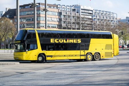 Ecolines intercity bus at Hamburg Central Bus Station. Ecolines is a long distance coach organisation with a transnational network. Editorial