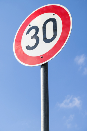 German road sign: speed limit 30 kmh Stock Photo