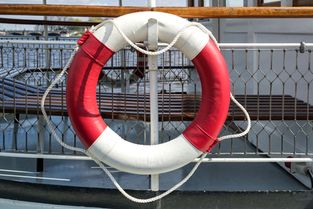 ring buoy aboard a ship Stock Photo
