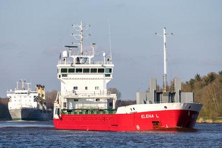 general cargo ship ELENA L in the Kiel Canal
